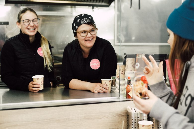Hüftgold owners Isabel and Lisa serve gourmet burgers made from premium, all-natural and organic ingredients.