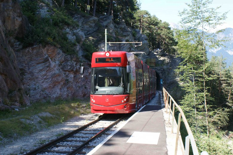 "A memorable streetcar ride through beautiful forest and verdant countryside. Tram #6, lovingly dubbed ""Forest Streetcar"", connects Innsbruck and Igls. (Copyright: IVB)"