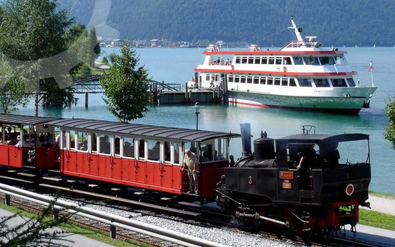 On the Achensee Cog Railway, you will experience Tirol at its best…wonderful scenery, majestic peaks, all from the view of a historic train. At Achensee Lake, you will see places you can get to only by foot, train or boat. (Copyright: Achenseebahn)