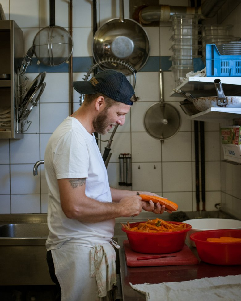 The team at the Stüdl Hut can be found hard at work in the kitchen every day preparing healthy and hearty food for hungry climbers.