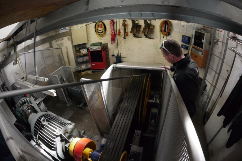 Michael Mussak carries out an inspection in the engine room.