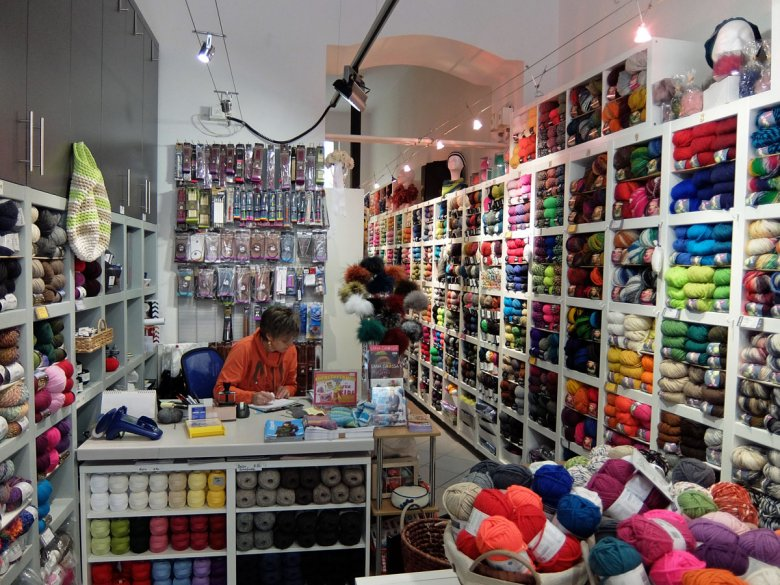 "The ""Glatt Verkehrt"" Yarn Shop on Maximilianstraße Street in Innsbruck"