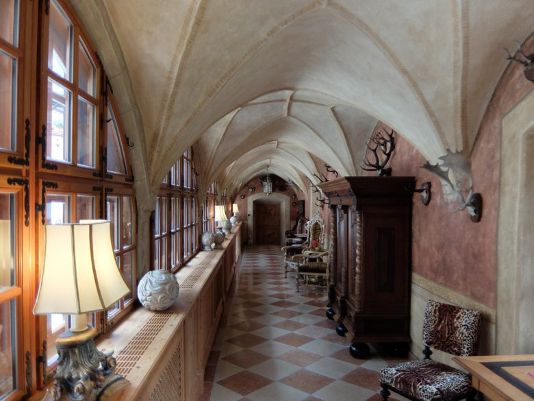 Gothic cloisters are accented by carefully chosen contemporary pieces.