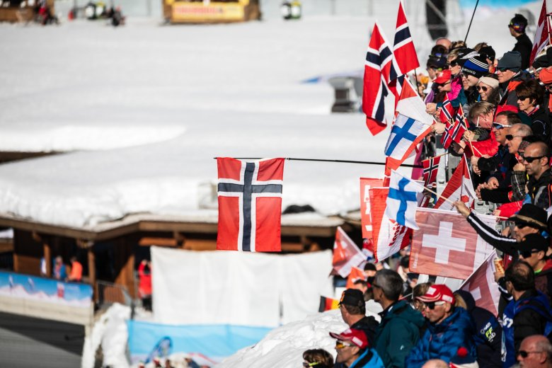Norwegian fans cheer on their favourite competitors.