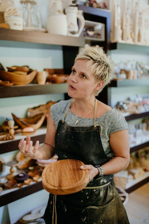 Margit Gschwentner in her new shop…