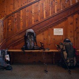 Entrance hall at the Berliner Hütte in the Zillertal Alps.