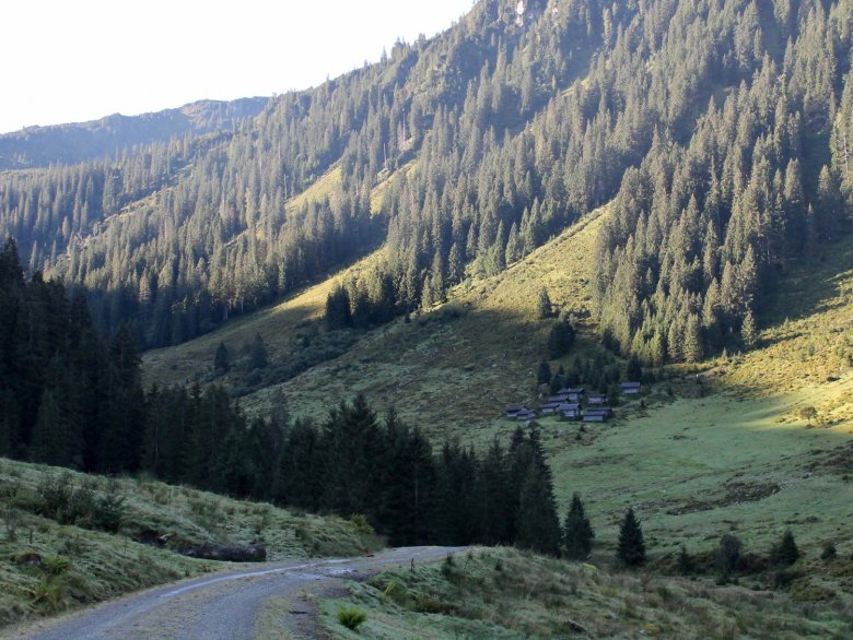 "First a gentle and convenient ride by car or slow train, passing along ""Kundl Alm""."