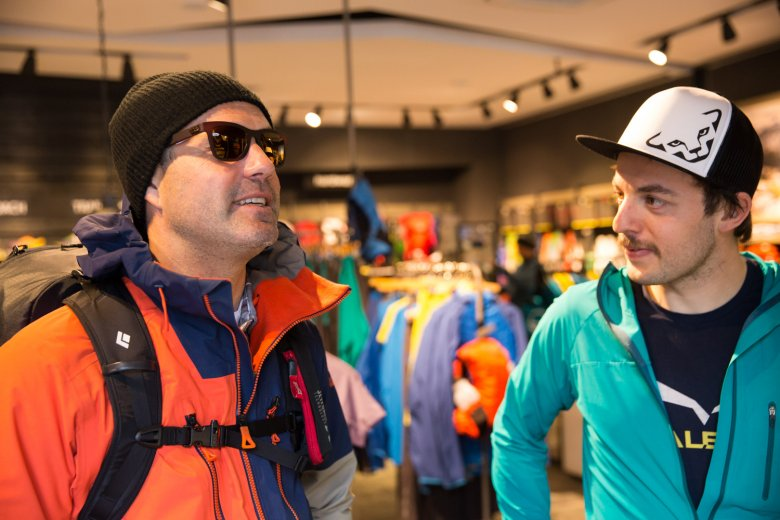 Thomas at the Mountain Shop with Patrick Hörhager.