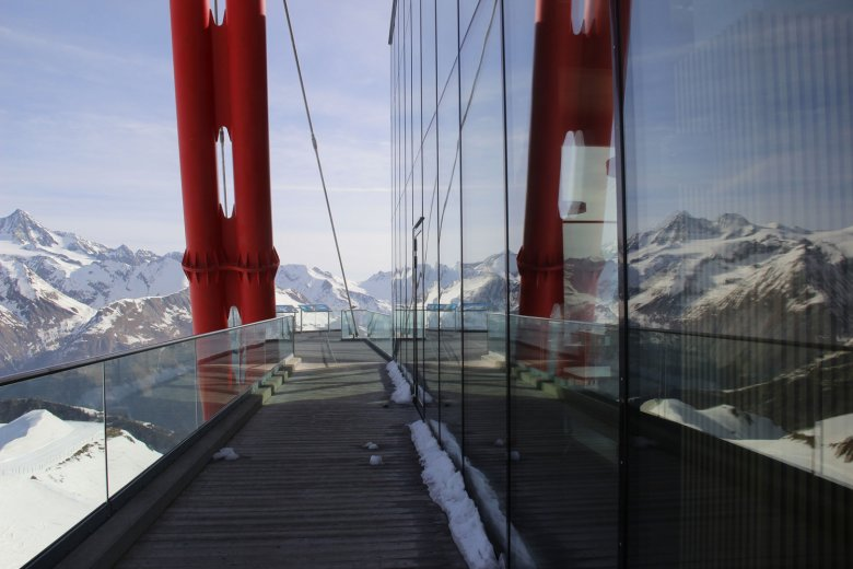 View of Großglockner from Adler Lounge. Photo Credit: Tirol Werbung / Janine Hoffmann