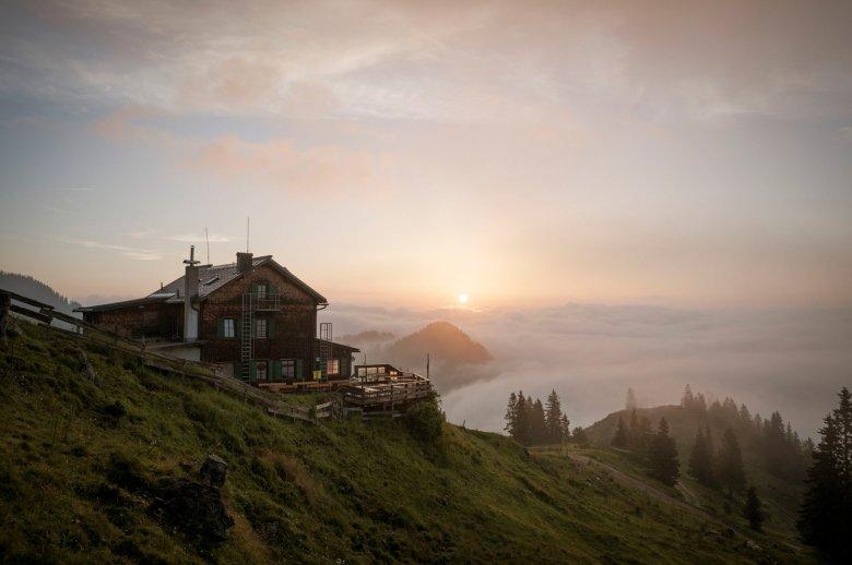 Bayreuther Hut amid Rofan Mountain Range.