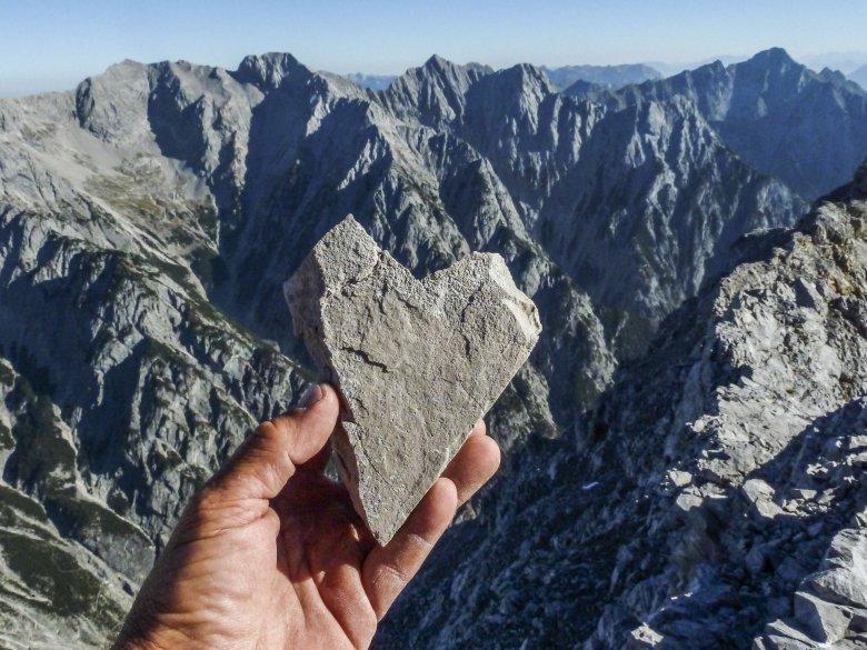 Stone heart on the Hohe Fürleg mountain in the Karwendel Mountains