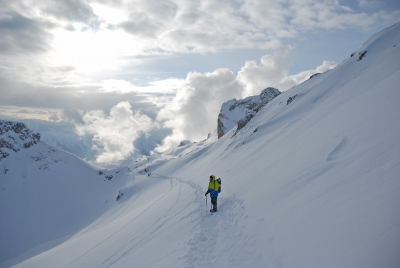 The final traverse beneath the last uphill slope
