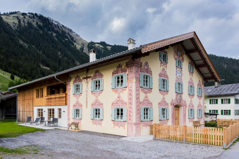 """Old Lechtal Valley homes are renowned for their distinctive art of wall-paintings, the socalled """"Lüftlmalerei""""."""
