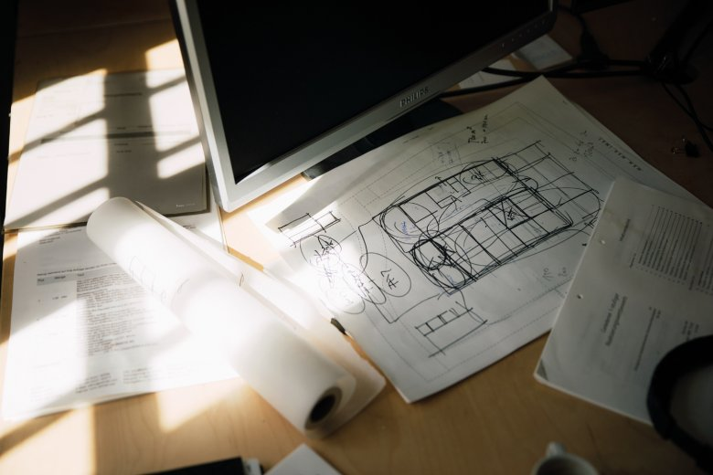 Sketches: When visiting the office of 'he und du', you'll catch sight of many plans and blueprints.