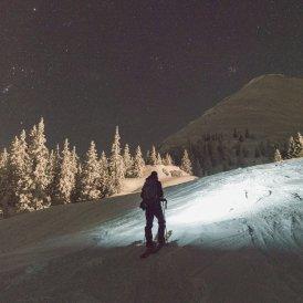 Night ski touring on pistes