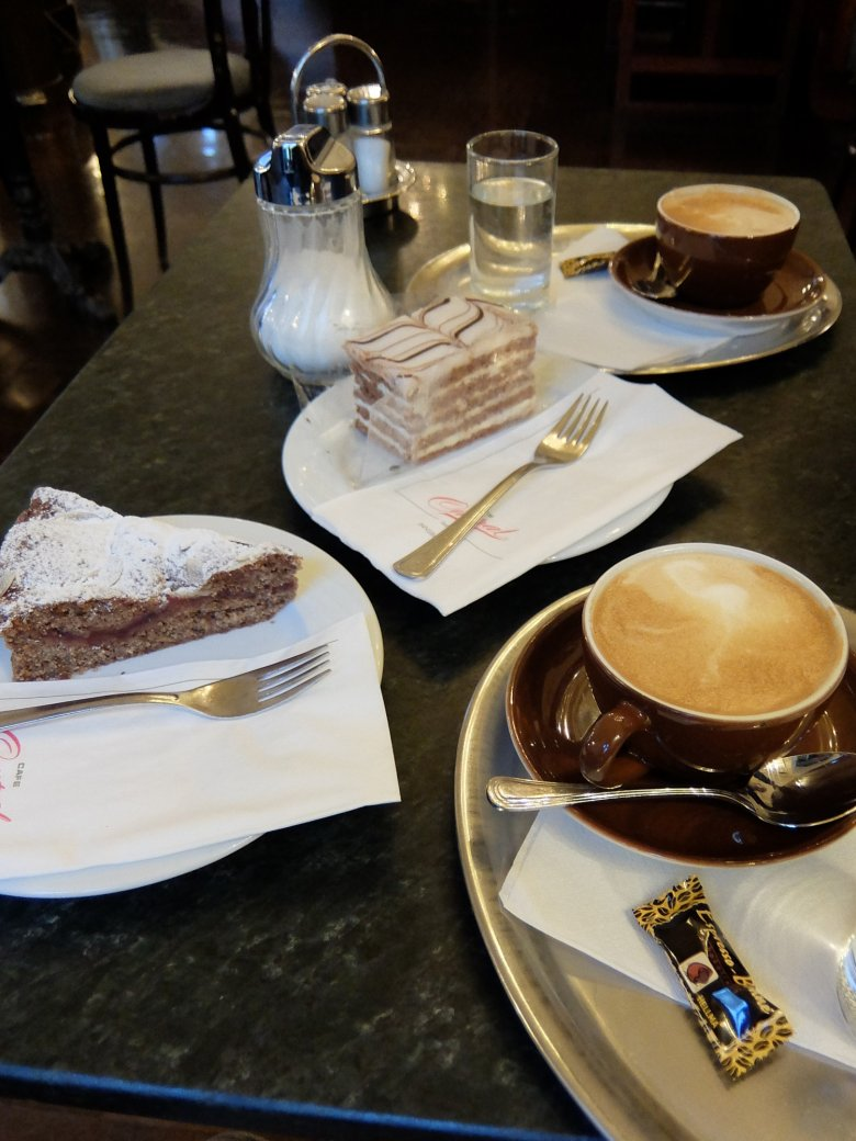 My personal favourite: Esterhazy Schnitte (pictured in the rear) is a must-try.