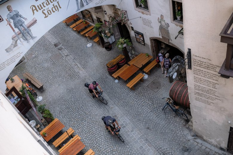 Cobblestones and narrow alleys in the medieval oldtown of Kufstein.