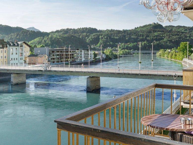 "View of the Inn River from ""Träumerei #8″Boutique Hotel. Photo Credit: Lorenz Marko"