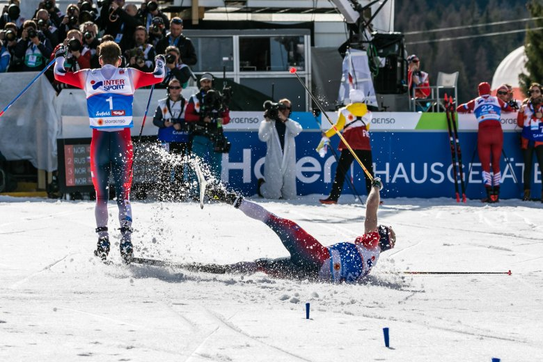The men's 50km cross-country skiing race was a close-fought affair.