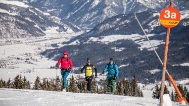 Ski touring on the pistes in St. Johann, © Mirja Geh / Eye 5