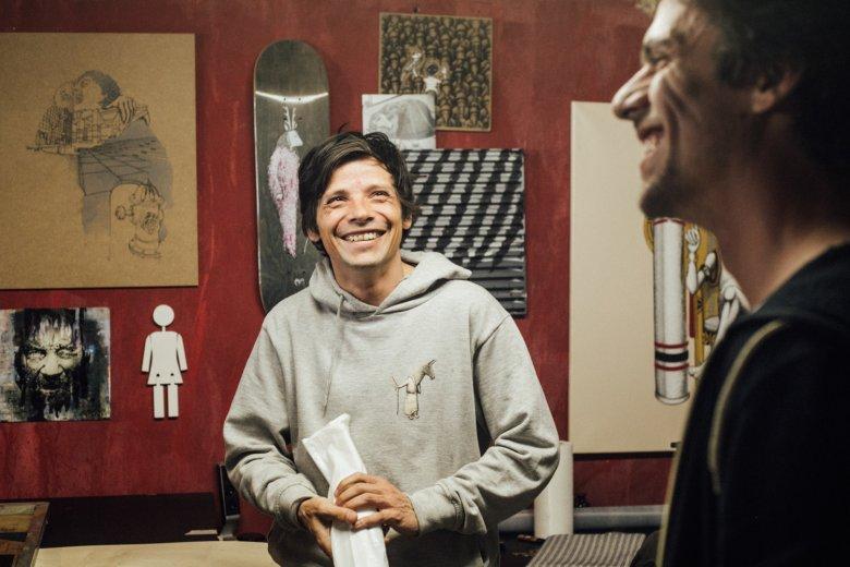 Benoît in the Studio of Lukas Goller, a good friend of him.