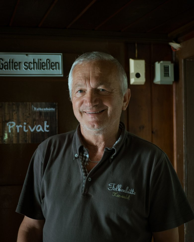 """Fritz Kostenzer's family has run the Falken Hut for three generations. """"The hut is my home."""""""
