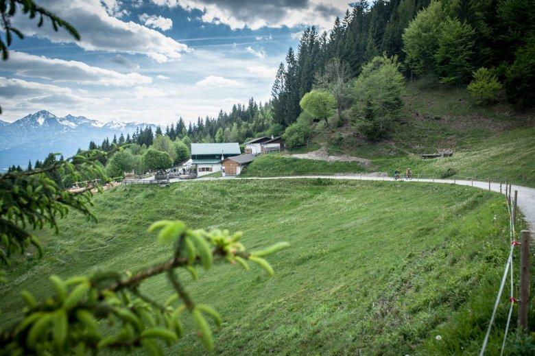 Arzler Alm Alpine Pasture Hut: In a wonderful setting, offering stunning views of Innsbruck below. Photo Credits: Rene Sendlhofer-Schag/www.bikefex.at