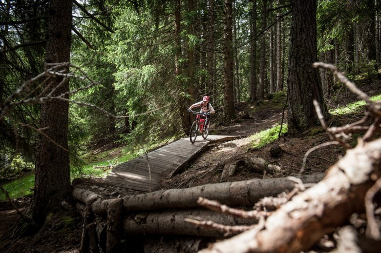 With a spattering of wood features, this trail gets the blood flowing. Photo Credits: Rene Sendlhofer-Schag/www.bikefex.at