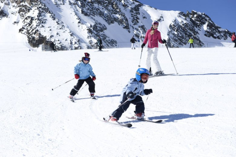 Skiing with kids at Stubai Glacier Ski Resort
