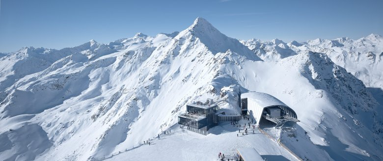 """The spectacular ice Q Restaurant and Gaislachkogelbahn Top Station were used for filming the new James Bond movie """"Spectre"""" in January and February 2015. Photo Credit: Das Central"""