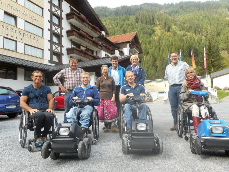 Front Row: Nothing holds Harald, Christian, Tim and Eelke back from enjoying the great outdoors of Kaunertal Valley. Pictured from left to right. Back Row: Charly Hafele (Weisseespitze Hotel), Catherine (journalist from Great Britain), Florian Van der Bellen (Kaunertal Tourist Board), Dineke (Eelke's mother) and Christian (dedicated staff member at Weisseespitze Hotel).