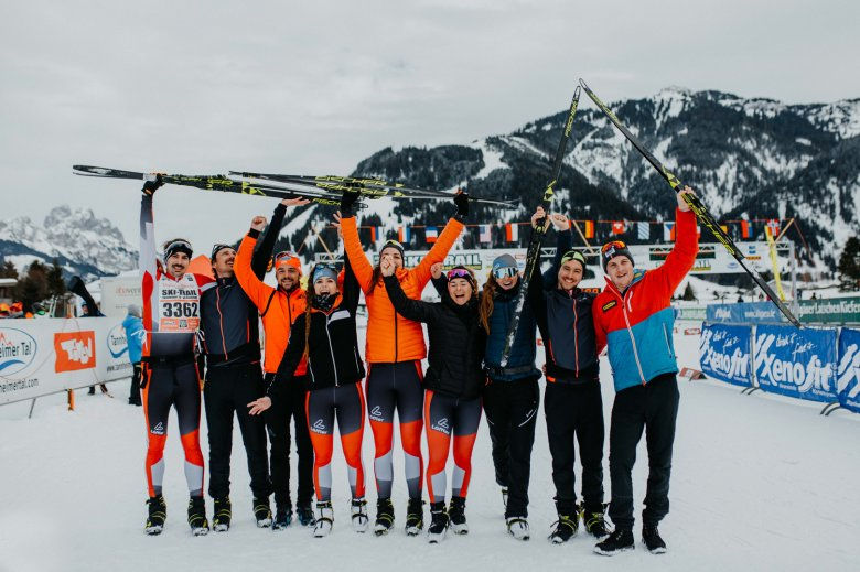 They made it to the finish line of the Ski Trail in Tannheim. Photo by Tirol Werbung / Charly Schwarz