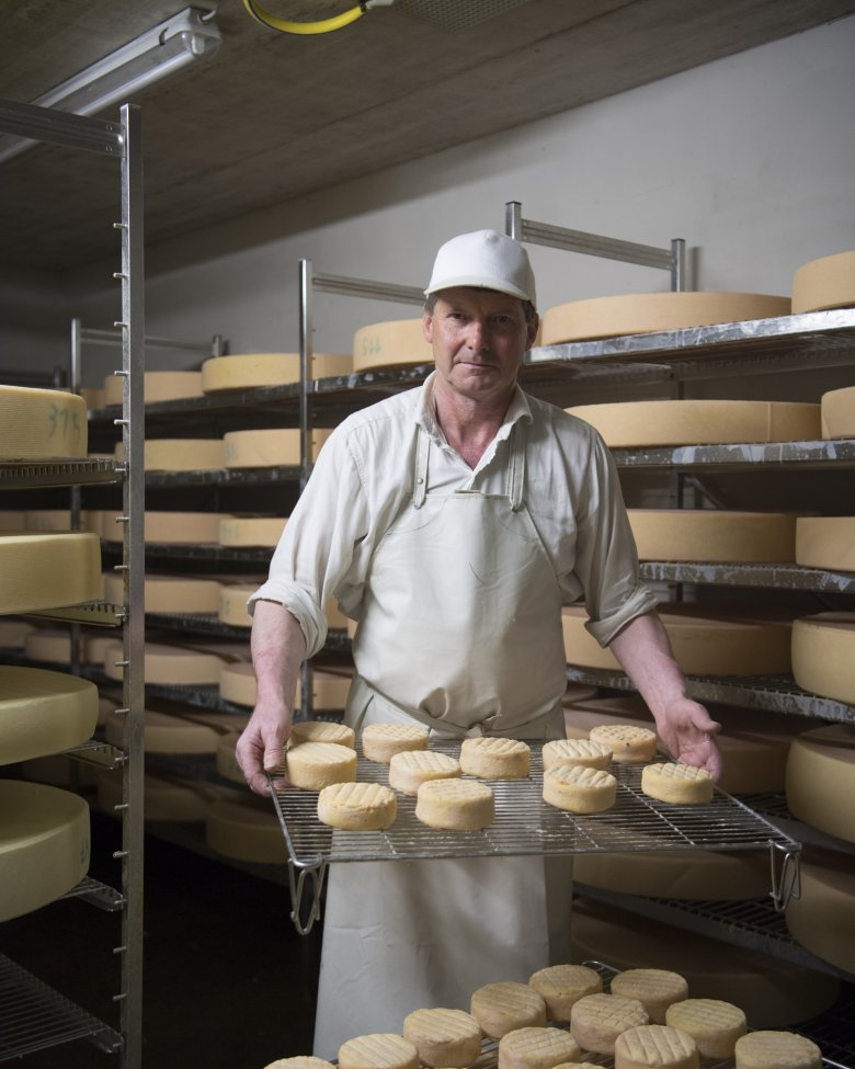 Toni Fahringer with his award-winning raw-milk alpine cheese.