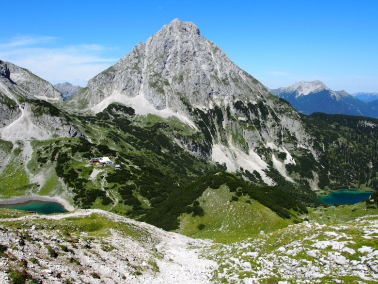 Stunning view of Drachensee Lake to the left, Seebensee Lake to the right, and Sonnenspitze Peak looming between them