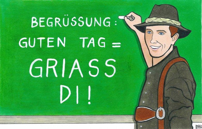 Greeting in Tyrolean. , © Illustration by Bertram Haid