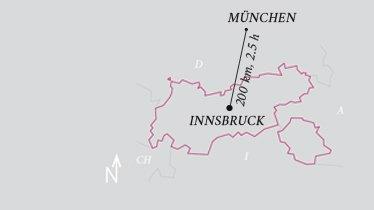 Distance Innsbruck airport - Munich airport, © Tirol Werbung