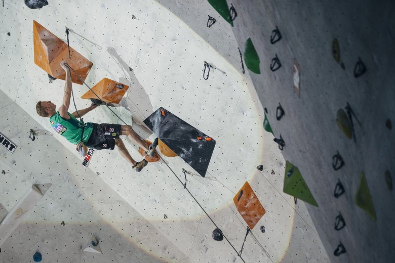 Climbing world champion Jakob Schubert in action. Photo: Heiko Wilhelm