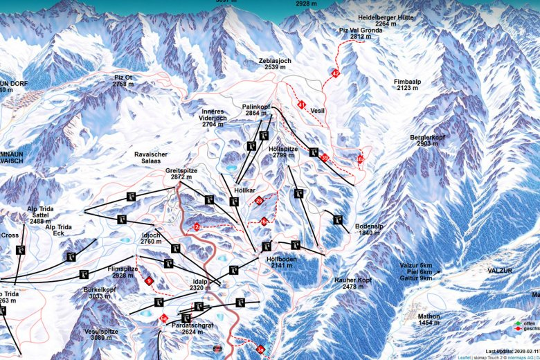 Ski route 39 can be accessed using the Gampenbahn chairlift and leads from Palinkopf down to Fimba (screenshot from interative piste map)