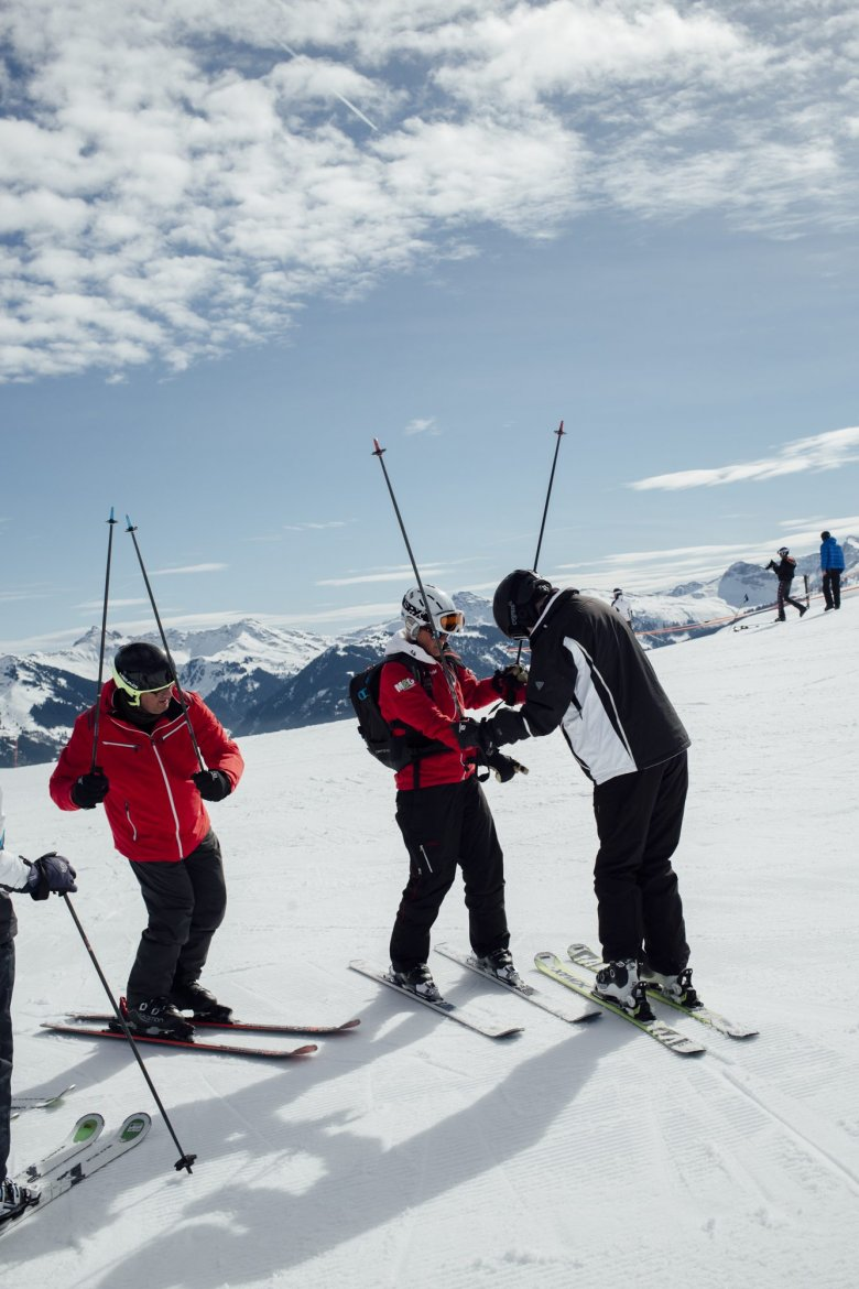 Ski instructors teach four to five hours a day. Days off are rare during the season, which usually lasts from December through late March.