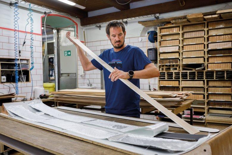 Peter Pfeifer in his custom ski-building workshop.