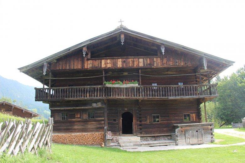 "Gwiggen Hof from the year 1625, is a ""Einhof"" farm type from Wildschönau; both floors are entirely made of wood."