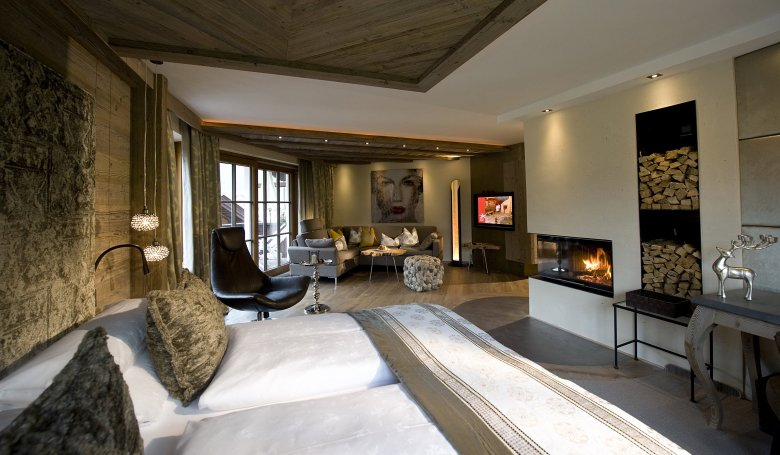 Even the suites have a fireplace.